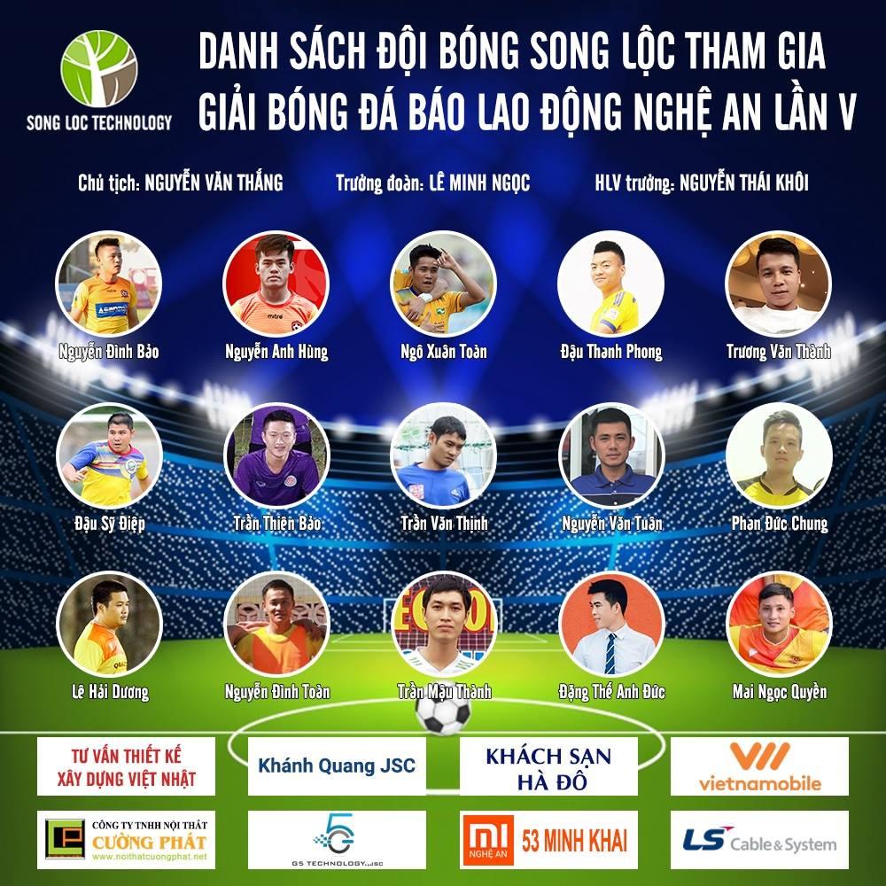 Song Lộc FC tham gia giải bóng đá Cup Báo Lao Động Nghệ An lần thứ 5 – 2018